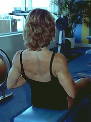 Lisa hits the shots in the gym